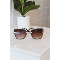 Stone Trim Cateye Sunglasses