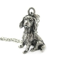 Realistic King Charles Spaniel Shaped Animal Pendant Necklace in Silver   Jewelry for Dog Lovers