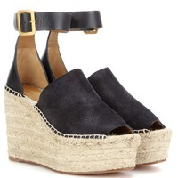 Suede and leather wedge espadrilles