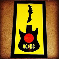 ACDC - AC/DC - Framed Recycled Vinyl Record Guitar - Home Decor, Wall Art, Guitar & Handmade - Birthday / Christmas Gifts - Free Shipping