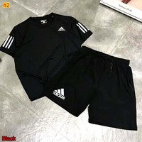 ADIDAS 2019 new sports and leisure short-sleeved shorts two-piece #2