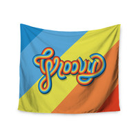 """Roberlan """"Groovy"""" Multicolor Typography Wall Tapestry"""