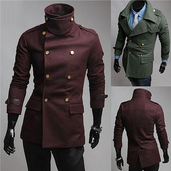 Military Men Fashion Double Breasted Wool Coat
