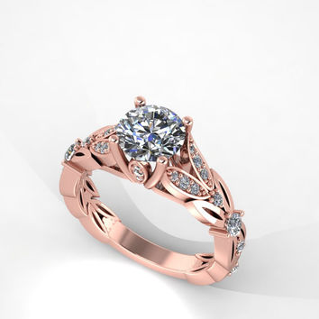 rose gold diamond engagement ring with moissanite center,engagement ring, anniversary ring, style 104RGDM