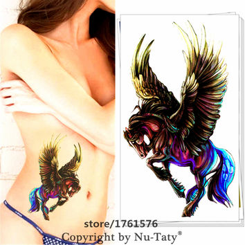Black Pegasus Horse Fashion Temporary Body Arts Flash Tattoo Stickers 12*20cm Waterproof Henna Tatoo Adult Sex Party Products