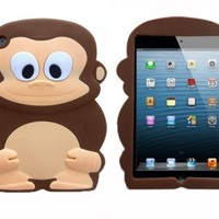 BYG Monkey 3D Sun Wukong Cartoon Soft Shell Case Cover for iPad Mini 7.9 Brown + Gift 1pcs Phone Radiation Protection Sticker