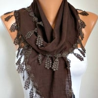 ON SALE - Brown Scarf  - Cotton  Scarf -  Cowl with Lace Edge   -