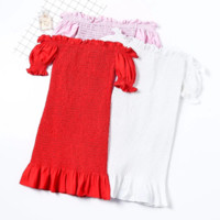 FREE SHIPPING Summer style elastic one-word neck exposed shoulder bubble sleeve stretch full-body pleated tight dress