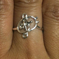 Treble Clef ring Music note ring Bass ring by EllynBlueJewelry