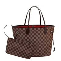 Louis Vuitton Damier Canvas Neverfull MM Red Shoulder Handbag;