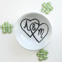 Personalized Wedding Ring Dish with initials and interlocking hearts great couples gift