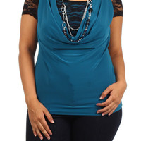 Lace Sleeve Cowl Neck Top - Teal - Plus Size - 1x - 2x - 3x