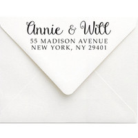 Personalized Rubber Stamp - Self Inking or Wood Mail Stamp for Bride & Groom - Housewarming Gift for Her - Engagement Gift for Bride (S115)