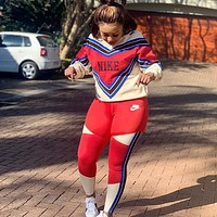 Nike Fashion Casual Women's Color Matching Two-piece Suit