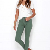 Frame-Worthy Washed Green Skinny Jeans
