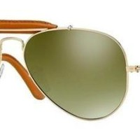 RAY BAN 3422Q 58 001/M9 LEATHER INSÈRE OR BRUN CUIR VERT ARGENT POLARIZED