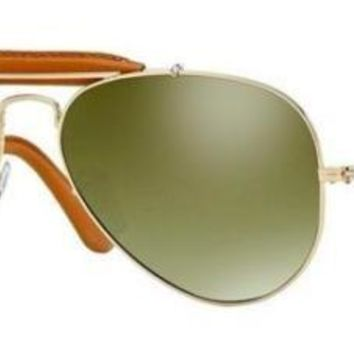RAY BAN 3422Q 58 001/M9 LEATHER INSERTS GOLD BROWN GREEN SILVER POLARIZED