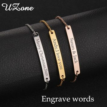 UZone Personalize Bar Women Bracelets Stainless Steel Engrave Name Bracelets 3-Tone Jewelry For Best Friends Gift