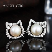 Angel Girl Popular White Hello Kitty Stud Earrings With Natural Big Round Pearl Of 925 Sterling Silver Jewelry For Women