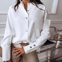 2020 new women's all-match solid color button long-sleeved shirt