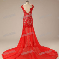 New 2014 Lace Long Most Beautiful Evening Dresses Sexy Backless Prom Party Dress Lace Dress Party Evening Elegant