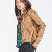 Ymi Womens Faux Leather Jacket Tobacco  In Sizes