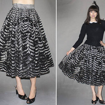 Rare Vintage 50s FULL CIRCLE SKIRT / High Waisted Black + White Gingham, Velvet Burnout / Paper Taffeta / A-Line Swing / Rockabilly / Small