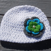 3 - 6 months Baby Crochet Hat, Crochet Baby Hat, White Cotton Crochet Hat, Cotton Crochet Beanie, Crochet Flower Accents