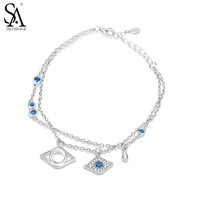 SA SILVERAGE Real 925 Sterling Silver Evil Eye Charms Bracelet for Women Fine Jewelry Two Layer Blue CZ 2017 New Arrival
