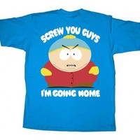 South Park Cartman Screw You Guys I'm Going Home Turquoise Blue Adult T-shirt