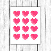 Printable heart poster - geometric heart print - facet heart printable art - love printable poster - modern print - INSTANT DOWNLOAD