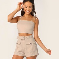 Tie Strap Top And Adjustable Belted Shorts Set Sexy Khaki Solid Spaghetti Strap Sleeveless Women 2 Piece Sets