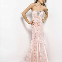 Peach Floral Embroidered Sequin Strapless Prom Gown - Unique Vintage - Cocktail, Pinup, Holiday & Prom Dresses.