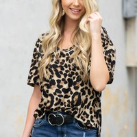 Side Slit Hi-Low Leopard Top