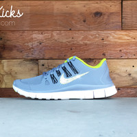 Women's Nike Free 5.0+ Running Shoes By Glitter Kicks - Hand Customized With Swarovski Crystal Rhinestones - White/Gray/Green