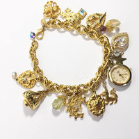 Retired Kirks Folly Bracelet, Camelot Charms of Time piece Collectible Jewelry