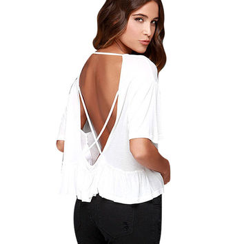 Crazy Graphic Print Backless Shirt in White