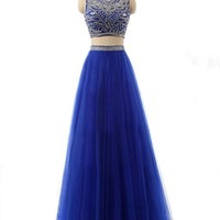Sisjuly Women's Crystal Two Pieces Ball Gown Prom Dress with Sleeveless
