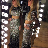 Luxury 2017 Crystal Two Pieces Mermaid Prom Dresses Long Sleeves Sexy Party Dresses Graduation Dresses Formal Dress M2218