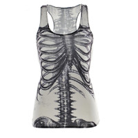Street clothes Women Summer Tops Cool 3D Print Vest tops Skull bone Camisole Sexy Tank tops