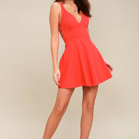 Believe in Love Red Backless Skater Dress