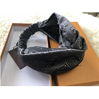 Louis Vuitton LV Newest Stylish Multicolor Sport Pleuche Headband Headwrap Warm Head Hair Band Grey I13677-3
