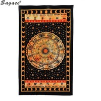 Black Zodiac Horoscope Tapestry Astrology Wall Hanging Ethnic
