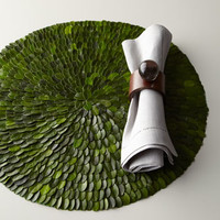 Boxwood Placemats & Clear Ball Napkin Rings