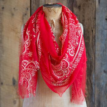 Scarves:  Red  with  Cream  Mandala  Gypsy  Frayed  Scarf  From  Natural  Life