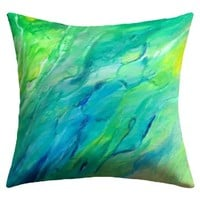"""DENY Designs Rosie Brown """"The Sea"""" Outdoor Throw Pillow, 18 by 18-Inch"""