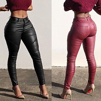 Stretch High Waist Leather Leggings