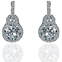 0.75 CT Diamond Veneer Cubic Zirconia  Solitare Sterling Silver Earrings