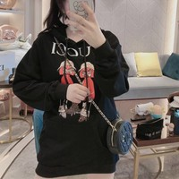 """Gucci"" Casual Fashion Letter Pattern 3D Printed Doll Long Sleeve Hooded Sweater Women Hoodie Tops"