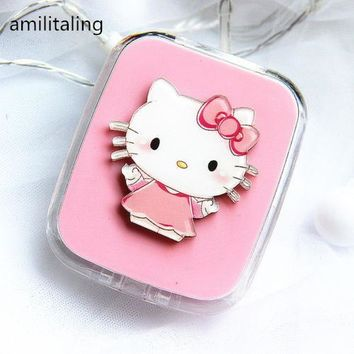 New Cute Hello Kitty Design Contact Lens Case Soak Storage make up Box yey-D2003